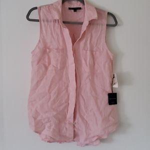 Pink Linen Tank Blouse